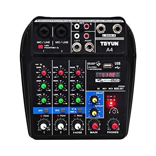 Best Prices! Absir Sound Mixing Console with Bluetooth Record 4 Channels Audio Mixer for Stage Perfo...