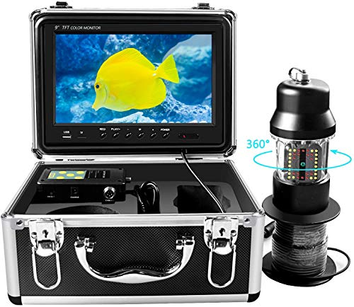 Cámara de Pesca Submarina, Cámara de Video buscador de Peces Cámara DVR Giratoria de 360°y Luces Nocturnas IR Ajustables, Monitor LCD de 9 Pulgadas HD 1000TVL, Búsqueda de Peces, Incluye Tarjetas 8GD