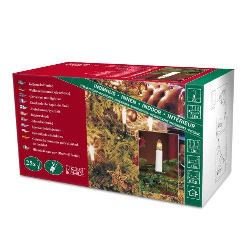 Konstsmide 2032-000 Baumkette mit Topbirnen /  für Innen (IP20) /  230V Innen /  teilbarer Stecker / 25 klare Birnen / grünes Kabel