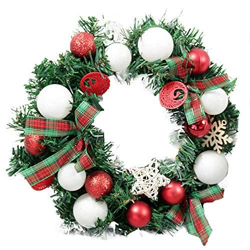 Alecony 30cm Weihnachtskranz Tür Wand Ornament Girlande Dekoration Weihnachtsgeschenk Künstlicher Weihnachtskranz Stilvoller Weihnachtsdekor-Kranz-hängender Kranz für Tür-Fenster-Dekor