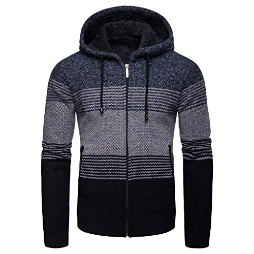 Best Bargain Milamy Men's Knitted Jackets Casual Color Block Splicing Coats Autumn Winter Hood Jacke...