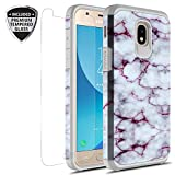 Samsung Galaxy J3 Achieve/J3 Star/J3 V 2nd Gen./J3 2018/Express Prime 3/Sol 3/Amp Prime 3 2018 Case with Tempered Glass Screen Protector, Rosebono Graphic Case for SMJ-337 (Purple Marble)