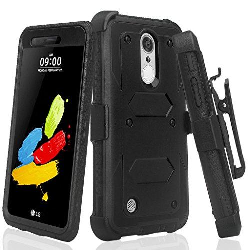 LG Phoenix 4/Zone 4 /LG Aristo/Aristo 2/Aristo 3/Aristo 2 Plus/Tribute Empire/Rebel 4 LTE/Rebel 3/Fortune 2 Case Belt Clip Holster Shock Proof w/ [Built In Screen Protector] - Black
