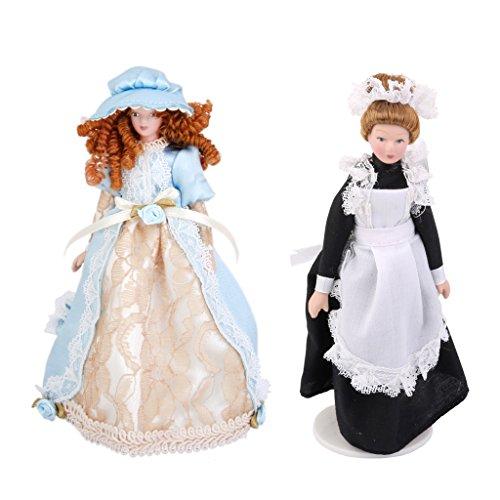 2 Piezas 1/12 Figura de Persona de Porcelana con Ropa en Miniaturas Accesorio de Casa de Muñeca - Sirvienta y Mujer Victoriana