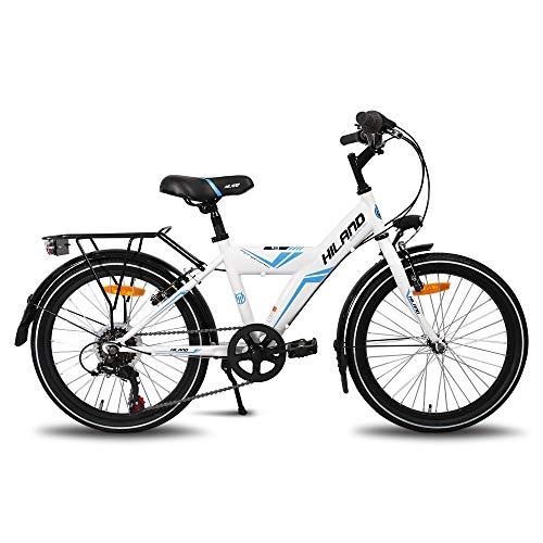Hiland Rocket 20 Zoll Kinderfahrrad Mountainbike für Kinder ab 7-10 Jahren mit Shimano 6 Gang, Shimano Twist Grip Shift,Beleuchtung nach STVO, Gepäckträger,Aluminium ständer,weiß/blau