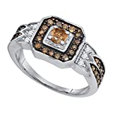 Jewels By Lux 10K White Gold Enhance Cognac Brown Diamond Bridal Wedding Engagement Ring 5/8CT Ring Size 8.5