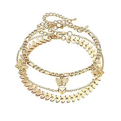 Pulseras de tobillo de mariposa para mujer, juego de tobilleras de oro, cadena ajustable de acero con corazón de oro, joyería de pie, regalos de playa de verano
