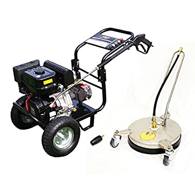 Kiam Driveway Cleaning Pack - Includes: KM3400P 9hp Industrial Petrol Pressure Washer (3400PSI @ 15 Ltr/Min), VT62-300S Stainless Steel Rotary Surface Cleaner, Turbo Nozzle - High Jet Power Driveway Patio Car Block Paving Cleaner by KIAM POWER PRODUCTS