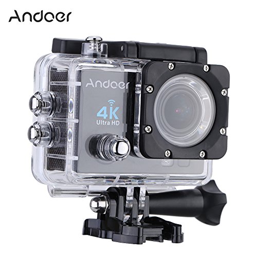 Andoer 2' Ultra-HD LCD 4K 25FPS 1080P 60FPS Wifi Cam FPV Video Output 16MP Action Camera 170°Wide-Angle Lens with Diving 30-meter Waterproof Case (Black)