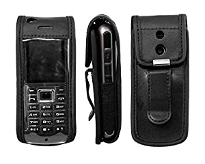 caseroxx Leather-Case with belt clip for Samsung GT-B2100 made of real leather with belt-clip in black