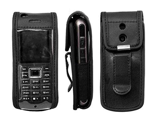 caseroxx Handy-Tasche Ledertasche mit Gürtelclip für Samsung GT-B2100 aus Echtleder, Handyhülle für Gürtel (mit Sichtfenster aus schmutzabweisender Klarsichtfolie in schwarz)