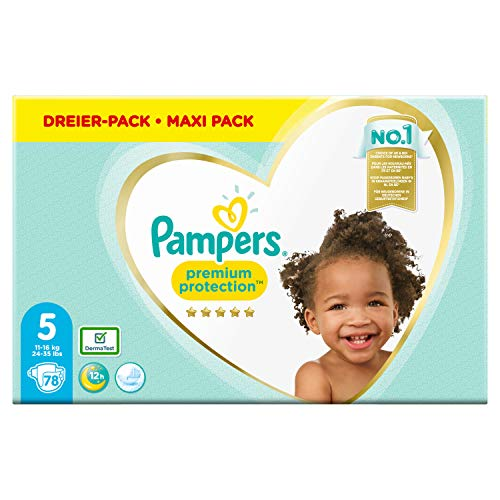 Pampers Premium Protection Windeln, Gr. 5, 11kg-16kg, Dreier-Pack (1 x 78 Windeln)