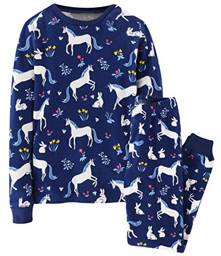 Fiream Girls 2 Piece Pajamas Sets Cotton Toddler Sleepwears(6006TZ,6-7YRS)