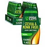 Whole Earth Sweetener Co. Stevia & Monk Fruit Liquid Sweetener, Original, 1.62 Ounce Squeeze Bottle (Pack of 12)