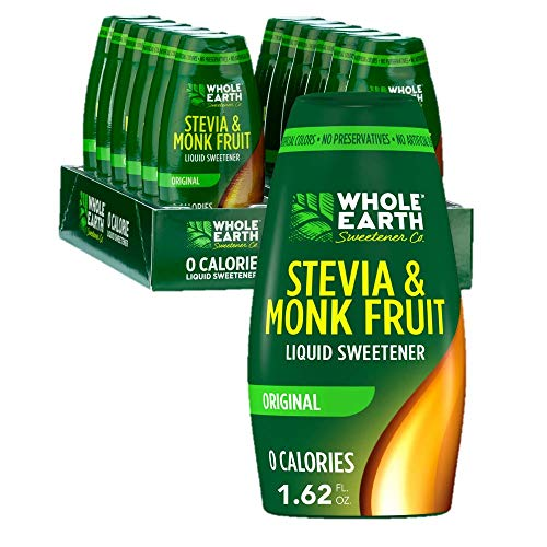 WHOLE EARTH Stevia & Monk Fruit Liquid Sweetener, Original, 1.62 Ounce Squeeze Bottle (Pack of 12)