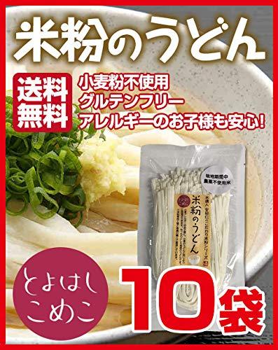とよはしこめこ 米粉のうどん グルテンフリー・小麦粉フリー・アルミフリー 128g×10袋