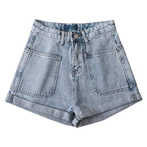 Pantalones Cortos de Mezclilla para Mujer Verano Nuevo Pantalones Cortos de Mezclilla Casuales Simples Pantalones Cortos de Pierna Ancha con Estilo de Bolsillo Grande S