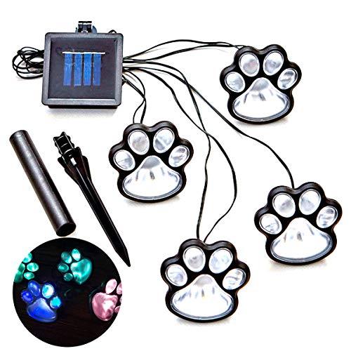 Petyoung Pfotenabdruck LED Solarleuchten (4Er-Set) Gartenleuchten Pfotenlampe für Weg Rasen Hof Gehweg Außendekorationen Jeder Hund Katzenliebhaber