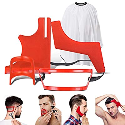 5Pcs Beard Styling and Haircut Tool Kit, Beard Shaping Tool Guide, Beard Trimmer Template, Hairline Neckline Mustache Trimming Stencil with Gift Beard Apron