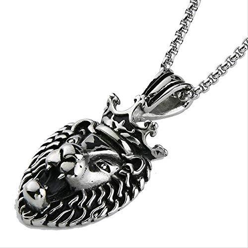 LBBYMX Co.,ltd Collar para Hombre Collar de Cabeza de león Corona Rey Collares Pendientes Acero Inoxidable Hip Hop Animal Charm Franco Cadena Collar