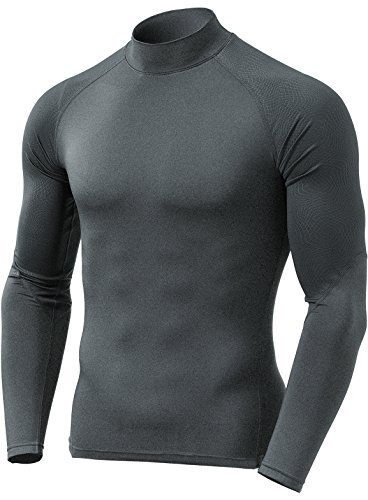 TM-YUT42-ZCH_Small Tesla Men's Emboss Mock Thermal Long Shirt Wintergear Compression YUT42