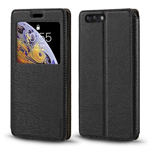 Capa para Asus Zenfone 4 ZE554KL, capa de couro de grão de madeira com porta-cartão e janela, capa flip magnética para Asus Zenfone 4 ZE554KL