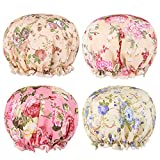 Flower Shower Caps for Women and Girl, Bath Cap 10.5' Waterproof Double Layers Reusable for Women Hair Protection EVA Plastic Lace Elastic Band