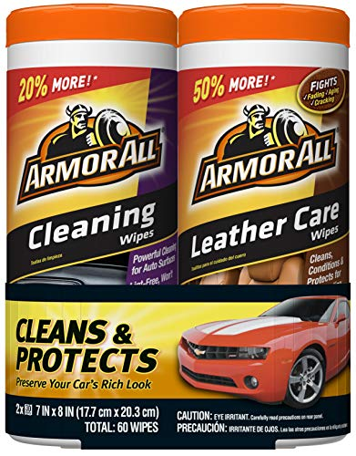 Armor All Car Cleaning and Leather Wipes - Interior Cleaner for Cars
