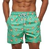 Arcweg Bañadores Hombres de Natación Pantalones Cortos de Playa Hombres Secado Rápido Forro Malla Ligero Estampado Florales Deportes Acuáticos Sandías Banana en Verde L