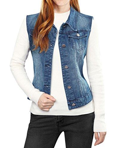 Allegra K Damen Ärmellos Button Gewaschener Jeansweste Jacke mit Brusttasche Dunkelblau L