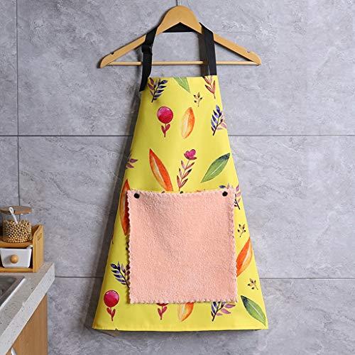 Küchenschürze Latzschürze Mit Handtuch Schürze for Frauen, Haushalt Mode Druck Schürze mit Tasche Wasserdicht Ölbeständiges Lätzchen Kochschürze for Küche, Backen, Putzen, Abwasch, Grill Profiqualität
