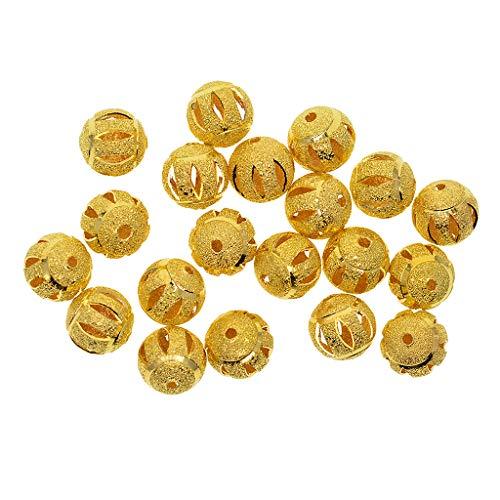 Homyl 20 peças de miçangas redondas banhadas a ouro Stardust esferas espaçadoras 12 mm DIY joias descobertas, Dourado, Babysbreath, 1