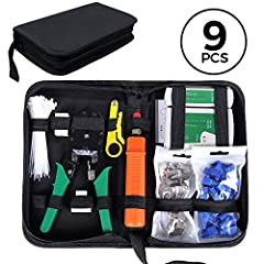 🎄9 in 1 NETWORK MAINTENANCE TOOLS : SGILE 9-in-1 network maintenance tools suit the essential need, which includes crimping pliers, network tester, 20 pcs RJ45 crystal connectors, 20 pcs connectors covers, punch down tool, RJ45 coupler, 3-way coupler...