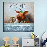 ウォールアートラージサイズピンクピッグペインティングキャンバスポスター美的ペインティングキャンバスプリント画像壁画スタイルホームデコ70x70cmフレームレス