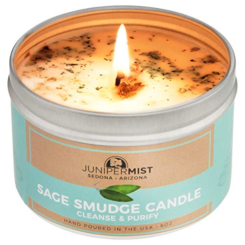 Sage Candle For Cleansing, Meditation, Chakra Healing, Protection + Smokeless Alternative to Sage Smudge Sticks, Incense, Bundles + Handmade in Sedona With Soy Wax, Pure Essential Oils and Sage Leaf