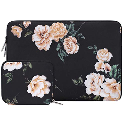 MOSISO Tablet Sleeve Compatible with 2020 iPad Pro 11 inch, iPad 7 10.2 2019, 10.5 iPad Air 3, 10.5 iPad Pro, 9.7 iPad, Surface Go, Water Repellent Neoprene Pattern Bag with Small Case, Apricot Peony