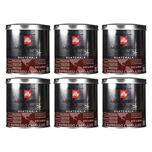Illy iperEspresso MonoArabica Guatemala Capsules Medium-bodied Coffee, 21-Count Capsule (Pack of 6)