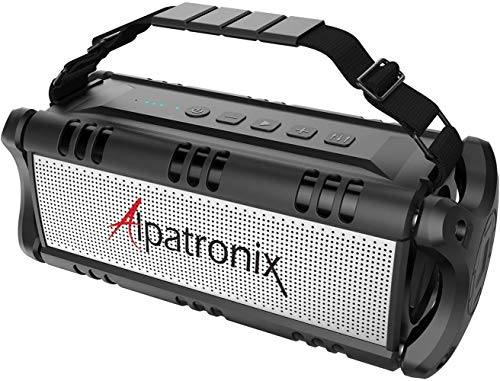 [Upgraded] Waterproof Bluetooth Speaker 60W (80W Max), Portable, Wireless, 8000mAh Power Bank, Shockproof, TWS, DSP, Stereo, Subwoofer, TF Card, Equalizer, Alpatronix AX500, Indoor & Outdoor – Black