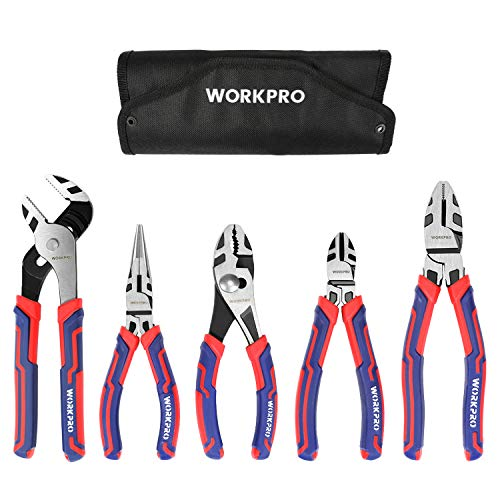 WORKPRO 5-piece Pliers Set with Storage Pouch, 7-Inch Long Nose, 6-Inch Diagonal, 8-Inch Groove Joint, 6-Inch Slip Joint, 8-Inch Linesman, Portable Home Hand Tools