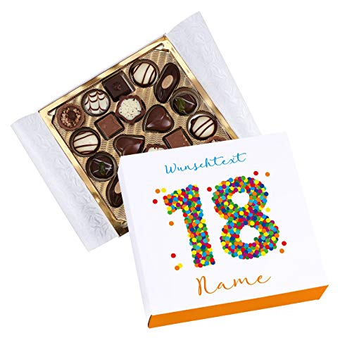 Herz & Heim® Lindt Geschenk-Pralinen zum 18. Geburtstag - in persönlicher Banderole mit Wunschtext und Name