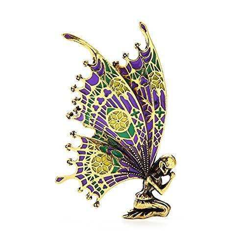 Broche vintage de alas de mariposa de hadas de esmalte para mujer