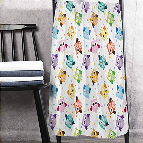 "ParadiseDecor Nursery Best Towels Machine Washing Towels Dotted Background Colorful Owls Various Facial Expressions Angry Happy Confused Multicolor 27"" W x 54"" L"