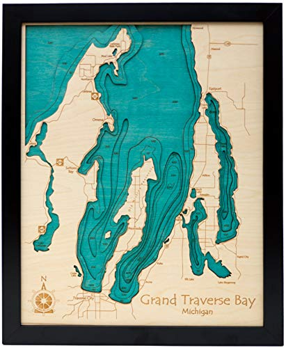 Sardis Lake - Panola County - MS - 3D Map 24 x 30 in (Black Frame with Plexiglass) - Laser Carved Wood Nautical Chart and Topographic Depth map.