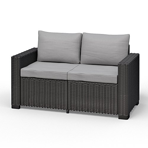 Allibert California 2-zitsbank polyrotan tuinmeubelen lounge rotanlook