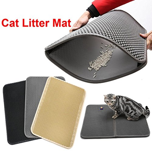 Honeycomb Large Cat Litter Mat Premium Kitty Box Trapping Sifting Pads Waterproof Urine Repellent Scatter Activity Play Scratching/Nap to Keep Floor Corner Carpet Clean Best for Grumpy (Beige)