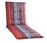 Liegenauflage Polsterauflage Gartenauflage | Rot | Mandalamotiv | 60 x 190 cm | Baumwolle | Polyester