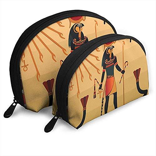 Antiquités égyptiennes Sun Life Trousse de Maquillage pour Coquillages en Forme de Coquille Sacs de Rangement Portables Une Trousse de Toilette (Comprenant 2 Sacs)