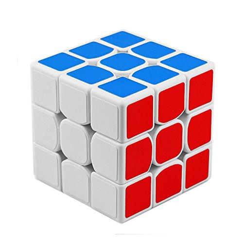® Moyu YJ 3x3x3 Velocidad Cubo Mejorado Anti Pop Estructura Lisa Cubo magico Puzzle para Competición (Blanco)