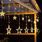Ibello - Ghirlanda luminosa a forma di stella, con 12 stelle, 138 LED, 3 m, 8 modalità lampeggiante, ghirlanda di Natale, finestra, decorazione per la camera