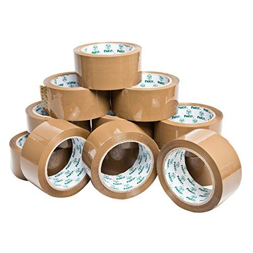 PAKIT Paquete de 12 rollos de cinta de embalaje marrón | 12 rollos de cinta transparente resistente de grado comercial de 48 mm x 66 m para embalaje, boxeo, mudanza y envío
